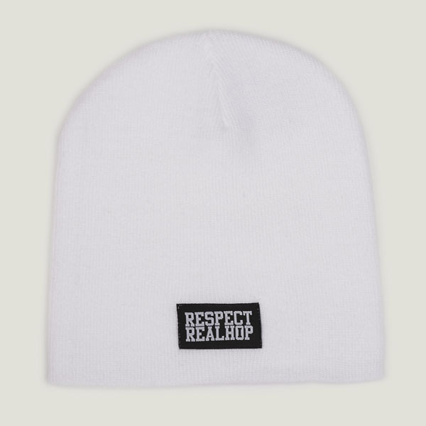 Pull On Beanie Solid logo: White