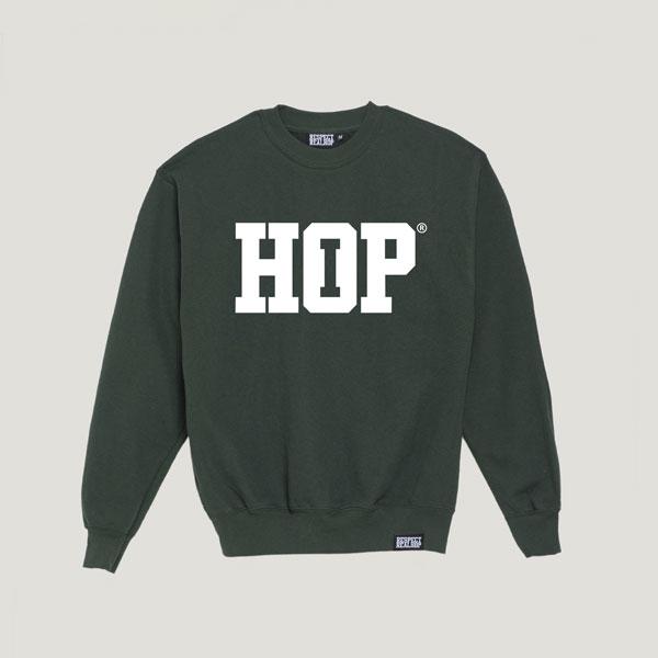 The HipHop logo Crewneck [Kush Green / White]
