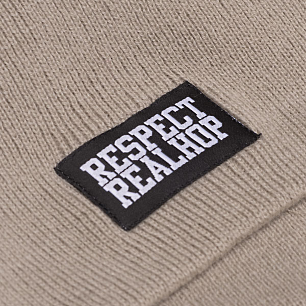 Pull On Beanie Solid logo: Stone